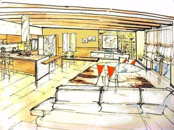 Come arreda una mansarfa bassa: soluzione progettuale, disegno prospettico