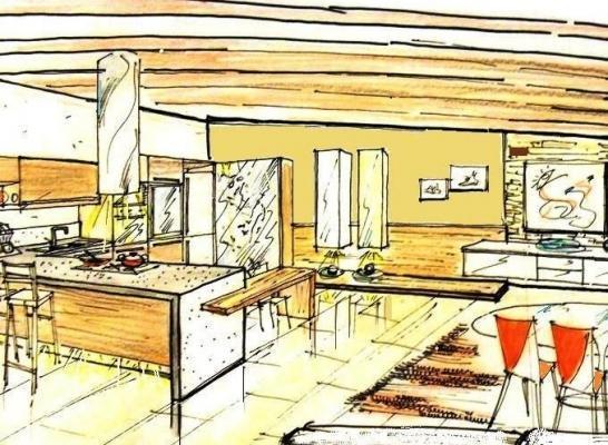 Soluzione per zona cucina e pranzo, in mansarda modalità open space
