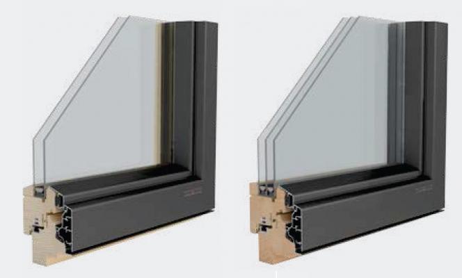 Infissi ad altre prestazioni in legno e alluminio Alutop 72 di Elicona