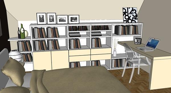 Camera matrimoniale mansardata con angolo studio, di Diotti A&F
