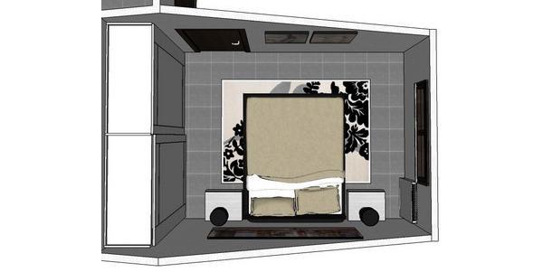 Camera matrimoniale mansardata con letto Zelig e armadio Quadra di Diotti A&F