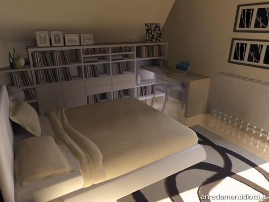 Mobili in mansardata con letto Cap, di Diotti A&F