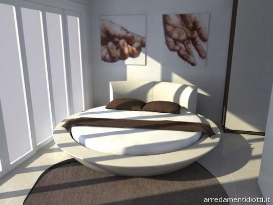 Arredare la mansarda letto rotondo Miami di Diotti A&F