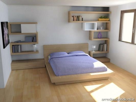Camerette per mansarda: letto Quarantacinque e mensole Side System