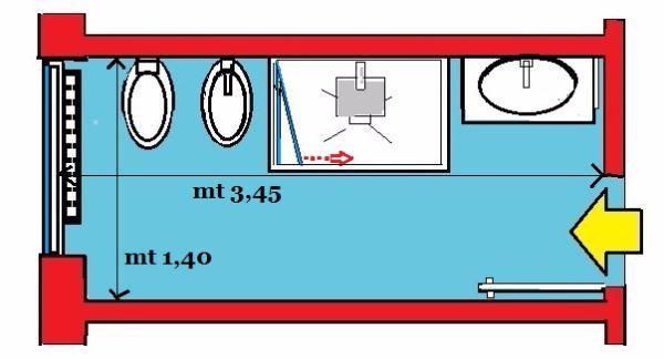 bagno Doccia disegno : La zona lavabo ? in ideale posizione adiacente alla porta di entrata ...