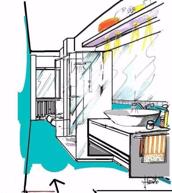 Disegno in 3D, per bagno con cabina doccia