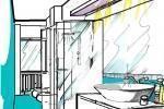 Soluzione progettuale per bagno con box doccia centrale