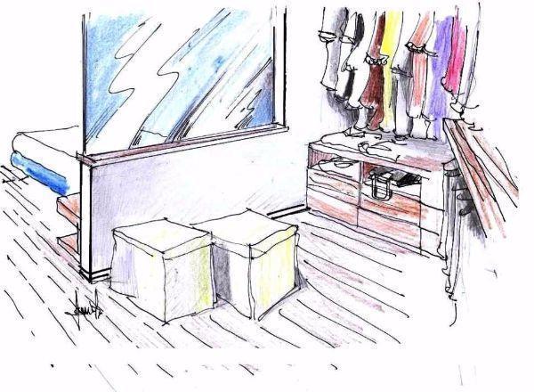 Camera da letto in mansarda: zona armadio retro letto, disegno prospettico