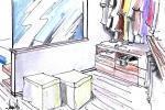 Disegno di camera in mansarda: zona armadio e spogliatoio