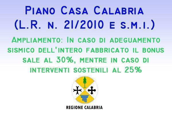 Piano Casa Calabria bonus ampliamento