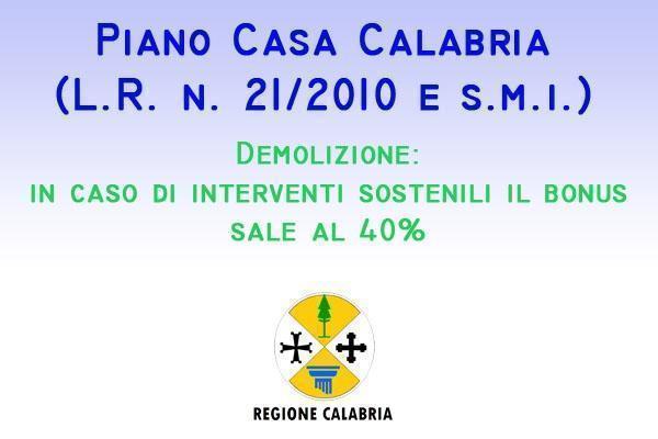 Piano Casa Calabria bonus demolizione