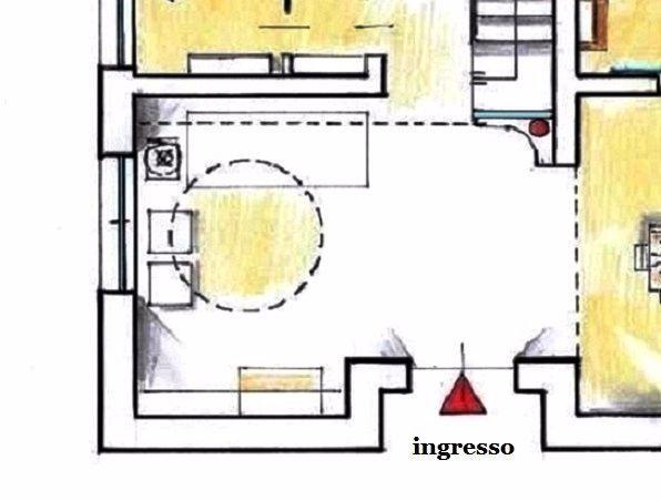 Salone classico contemporaneo: pianta con arredi e controsoffitto