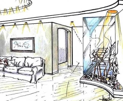 Disegno di salotto: controsoffitto e idea décor antistante scala