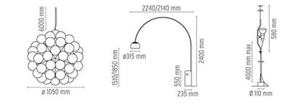 Le lampade di Achille Castiglioni: Flos, schemi delle lampade Taraxacum 88 S2, Arco e Parentesi