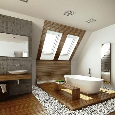 Ambiente bagno sottotetto con finestre Fakro