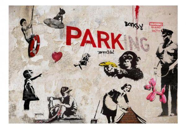 Stile Grunge:Carta da parati effetto graffiti murale di Murando.it