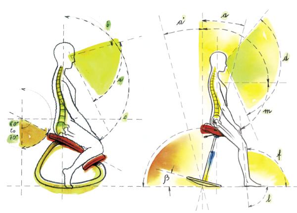 Posizione assunta sulla sedia Move di Varier