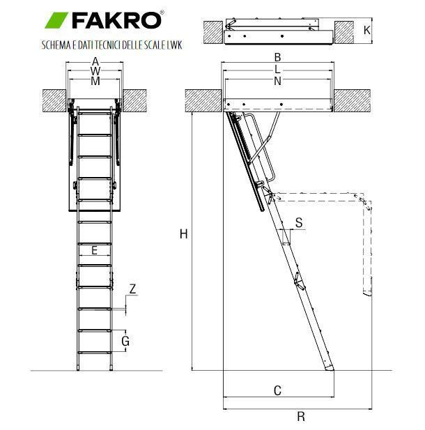 Misure scale per soppalco Fakro