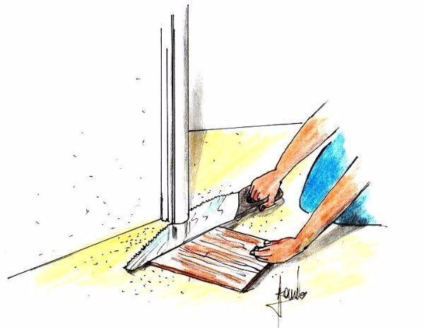 Parquet a listoni: posa a livello del vano porta