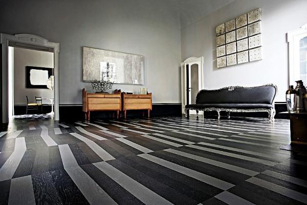 Pavimento in bicromia: parquet Listone Giordano Natural Genius Vibrazioni