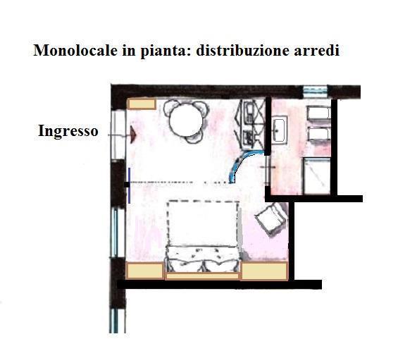 Pianta distributiva di progetto per miniappartamento 19 mq