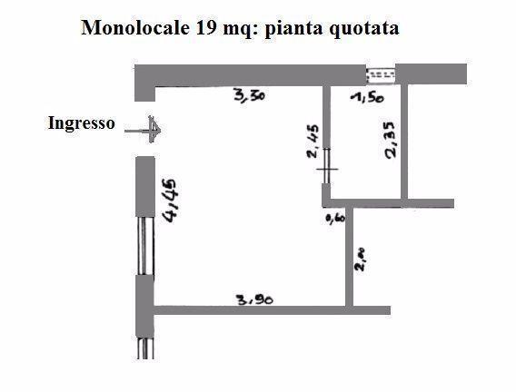 Monolocale di 19 mq: pianta con misure