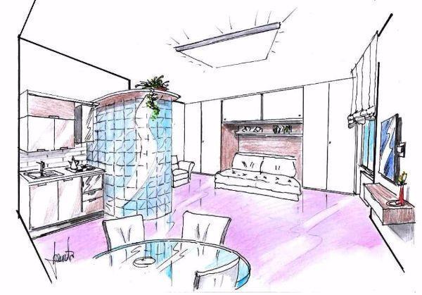 Monolocale progetto d 39 arredo - Disegno progetto casa ...