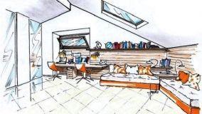 Cameretta doppia in mansarda: soluzione progettuale