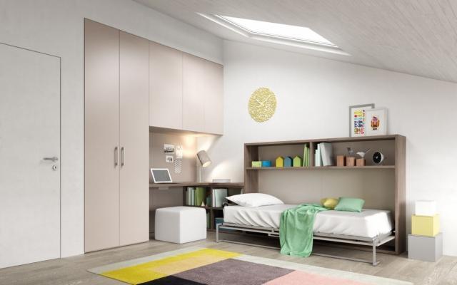 Ambientazione per cameretta in mansarda con letto a ribalta, by Mistral