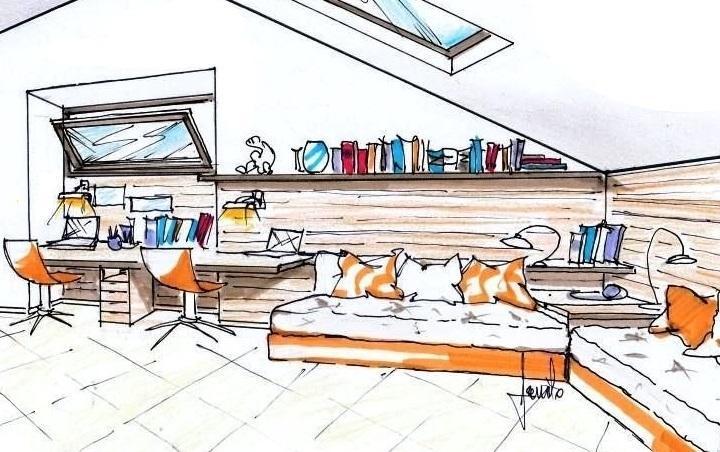 Progetto per mansarda: disegno prospettico di cameretta con due letti ad angolo