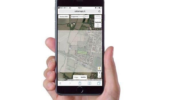 Individuare la posizione di particelle e fabbricati  da pc e smartphone con CATAMAPS