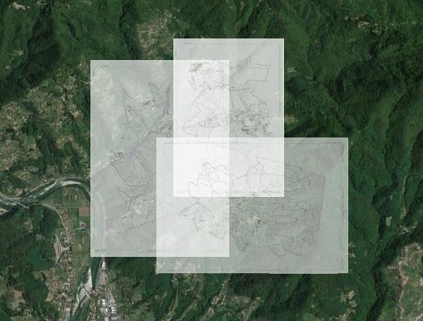 Foglio e particella catastale su foto aerea
