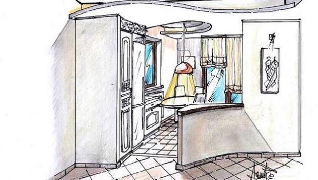 Idea progettuale per una cucina aperta sul salone: un sinuoso design