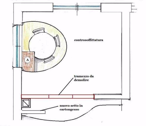 Progetto cucina: schema tecnico svuotamento al controsoffitto