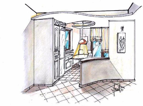 Disegno prospettico di cucina aperta sul living: correlazione tra arredi e controsoffittature