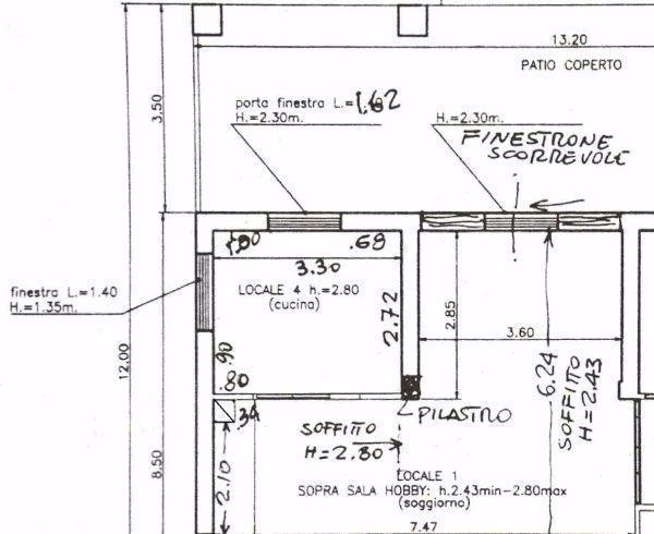 Cucina e salone prima della ristrutturazione: pianta stato dei luoighi