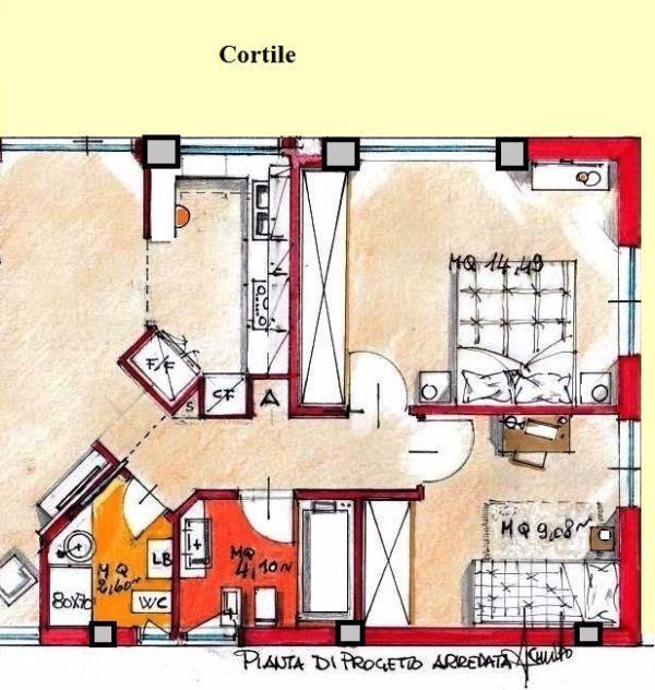 Camera padronale e cameretta con doppio bagno. pianta arredata
