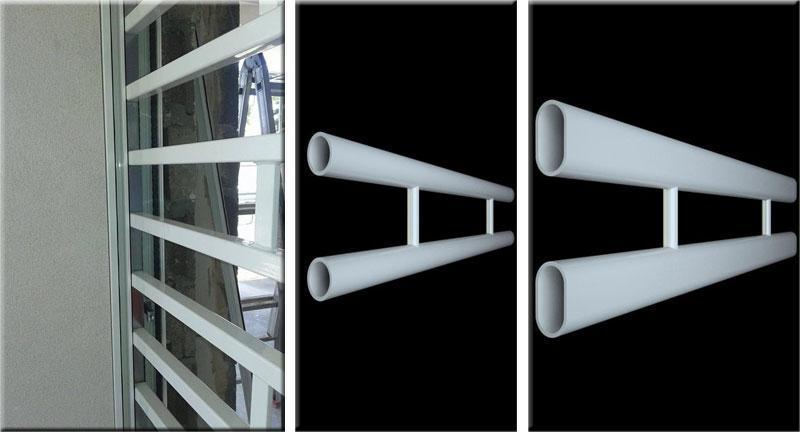 Modello di inferriata con tubolari a sezione quadra, tonda e ovale per grate di sicurezza SICURLIM