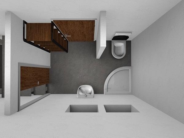 Progetto di rifacimento bagno: vista prospettica dall'alto