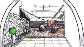 Idea di progetto per un terrazzo con rivestimenti in legno e pietra