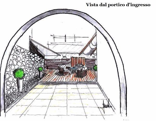 Arredo spazio esterno: vista dal portico d'ingresso