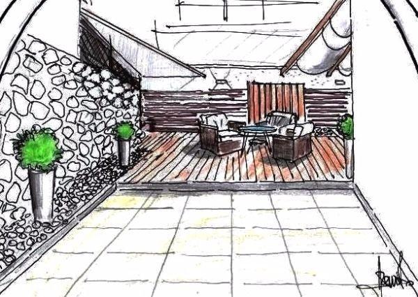 Progettazione terrazzo con rivestimenti in legno e pietra