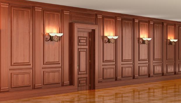 Boiserie in legno a parete