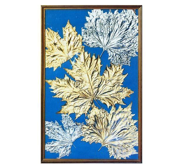 Quadro fai da te con foglie dorate