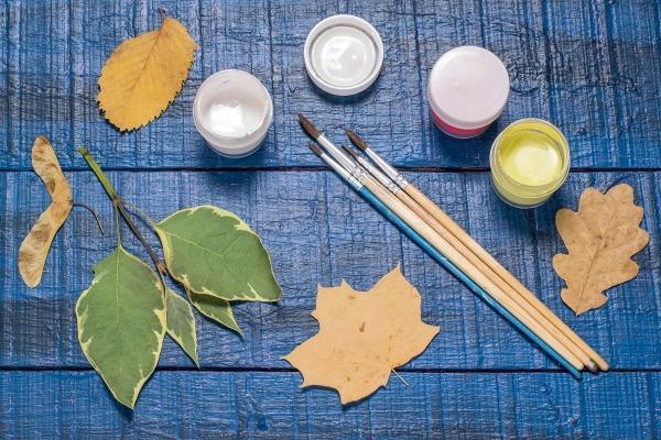 Quadro con foglie: i materiali