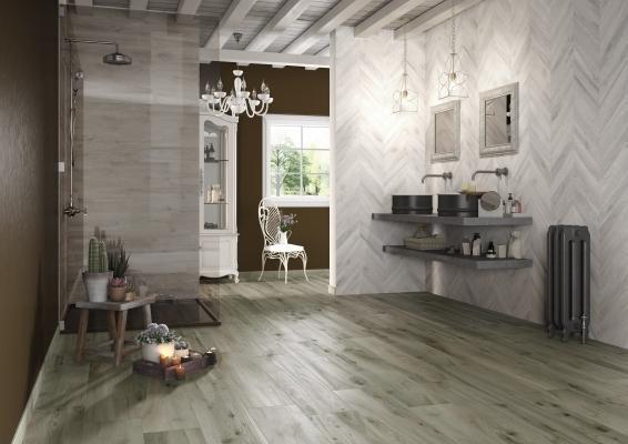 Pavimenti in gres collezione Woodie Green+White, di Ceramica Rondine