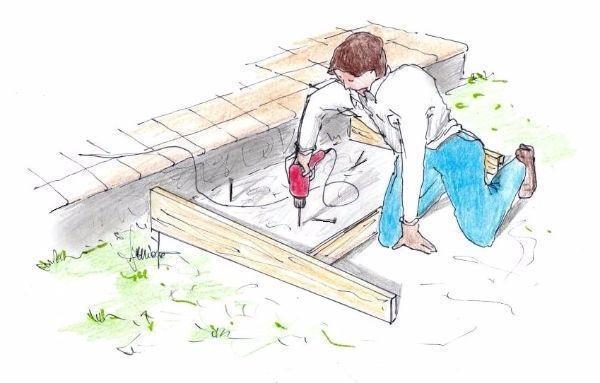 Costruzione gradino in cemento: ancoraggio con perni al suolo