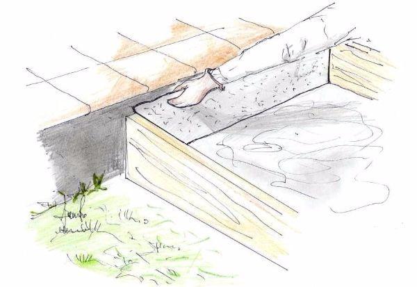 Costruzione gradino in cemento: applicazione strato isolante verticale