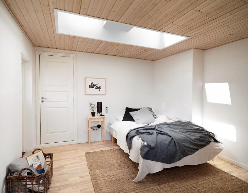 Camera da letto sottotetto, finestre VELUX
