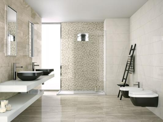 Pavimento con mattonelle Linea Lithos effetto marmo di Marazzi